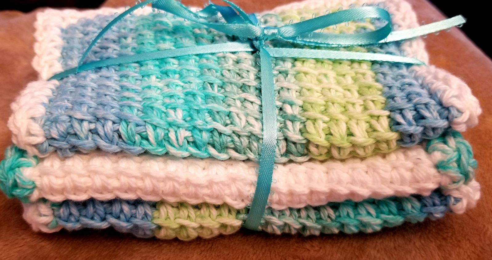 Set of 3 Mermaid colored spa cloths