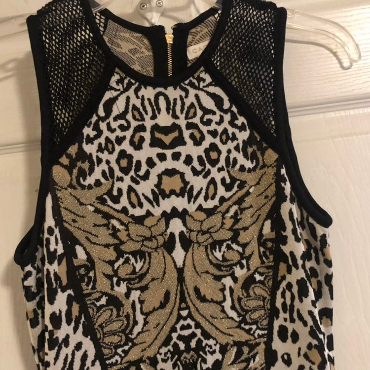Caché Cheetah, Metallic Bodycon Dress