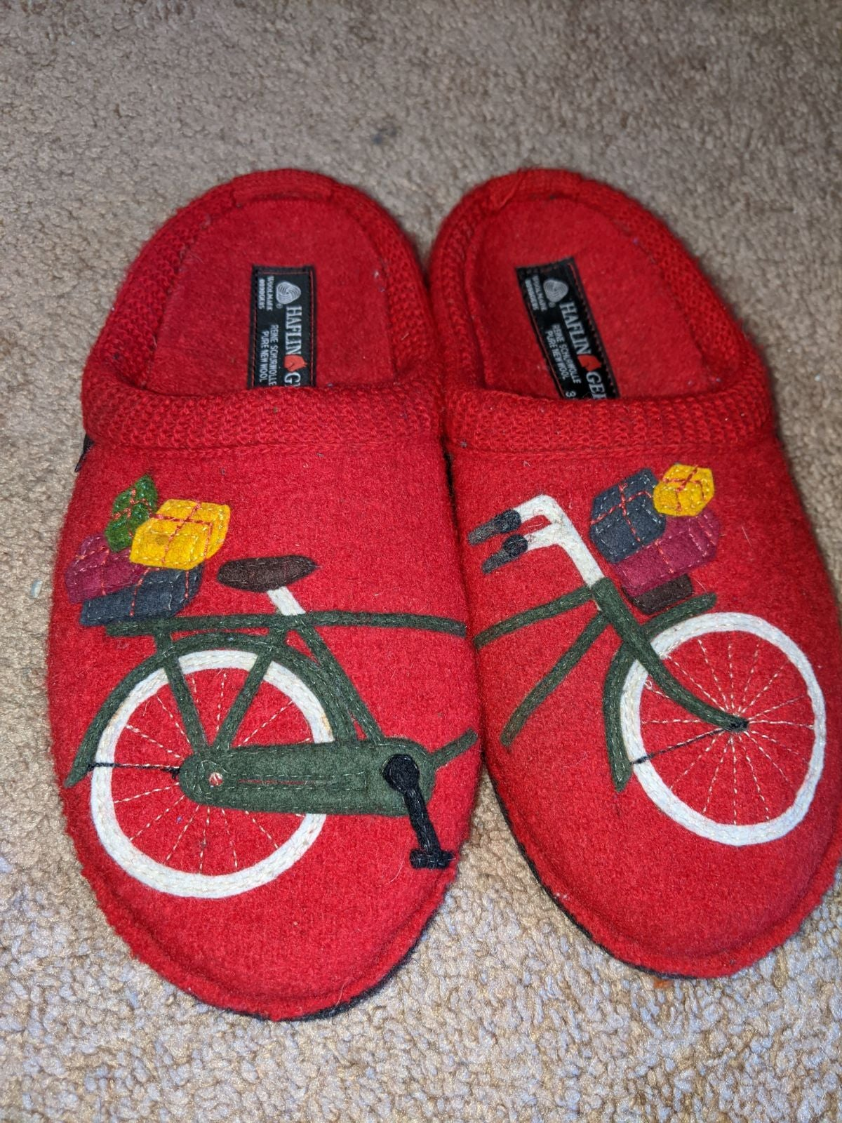 Haflinger Wool Slipper Clogs Red Bicycle