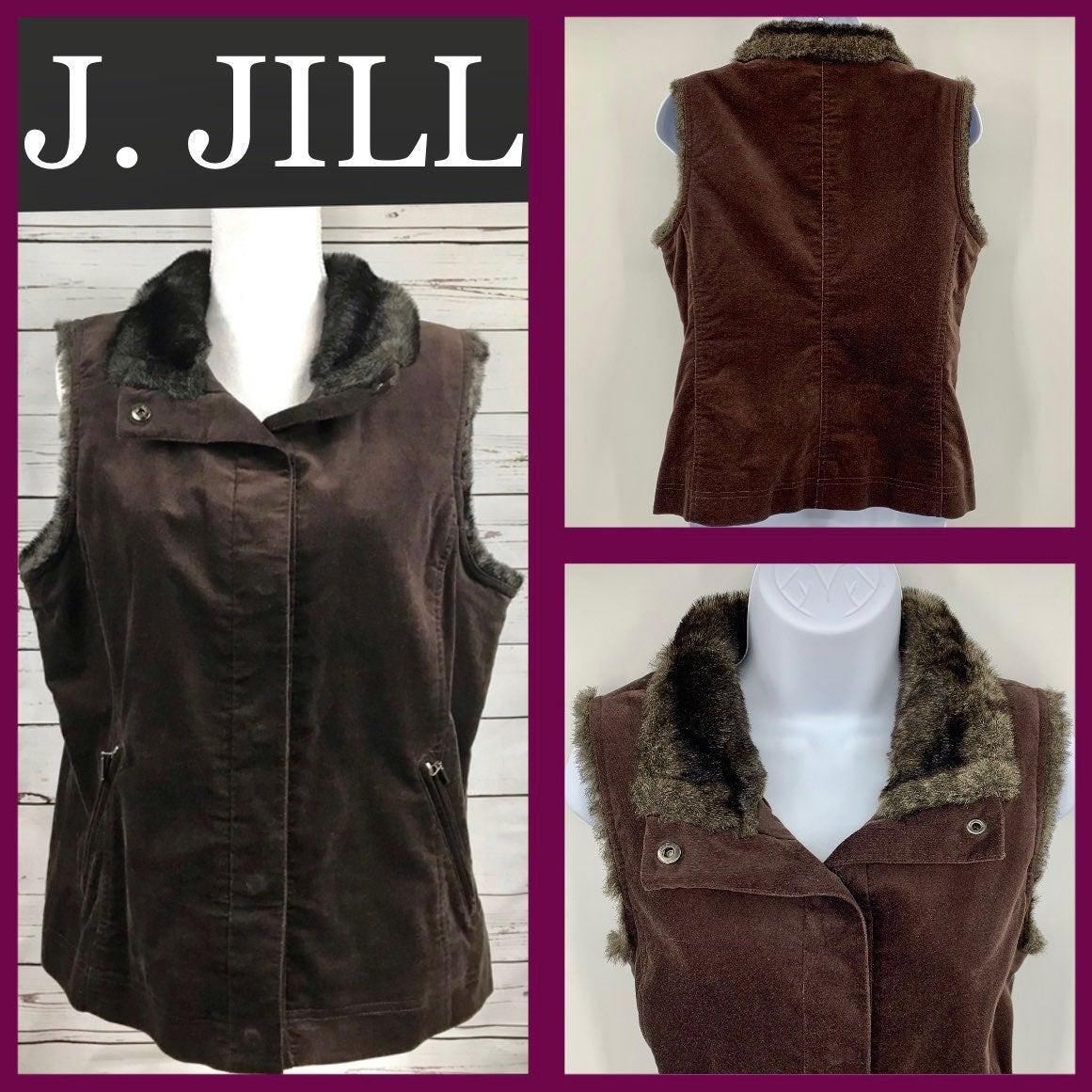 J Jill faux fur suede pocket button vest