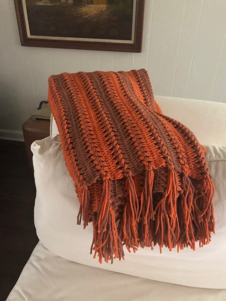 Vintage striped handmade afghan/throw
