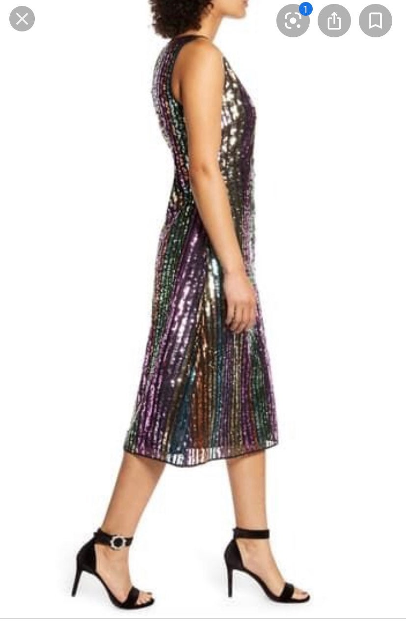 Atlantic Pacific Sequin Stripe dress siz