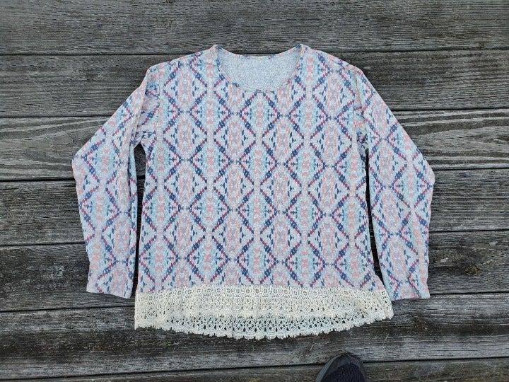 Aztec Desert Lace Long Sleeve Top 2X XXL