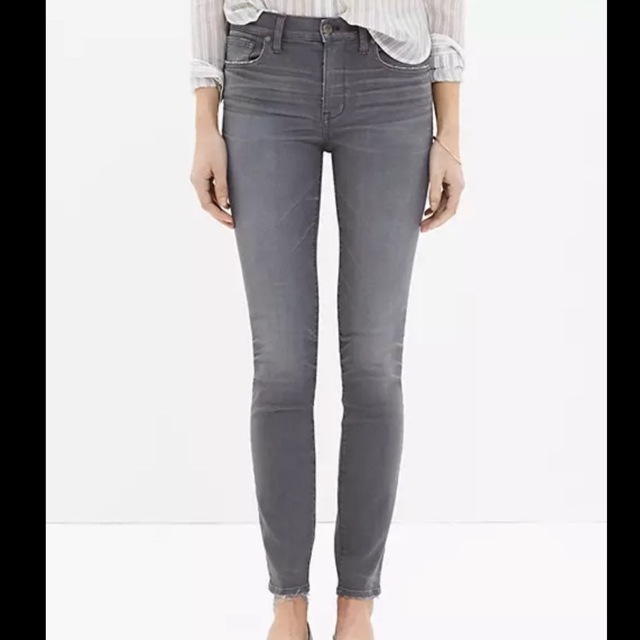 Madewell grey high rise skinny jeans