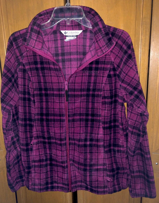 Columbia Pink Plaid Fleece Jacket sz L