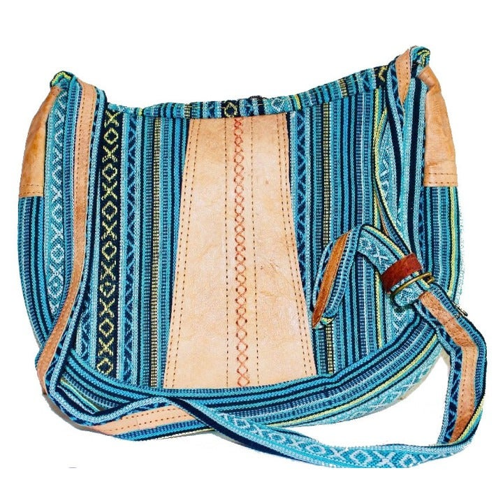 Handmade Yak Raw Leather/Cotton Mix Bag