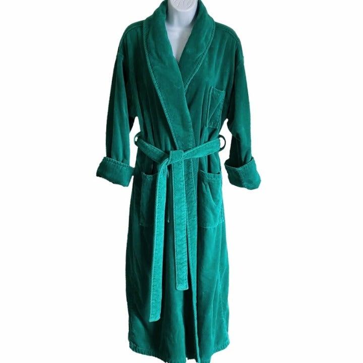 Adonna Terry Knit Robe Green Med Pockets