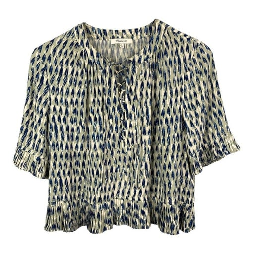 Madewell Small Crop Top V Neck Lace Up