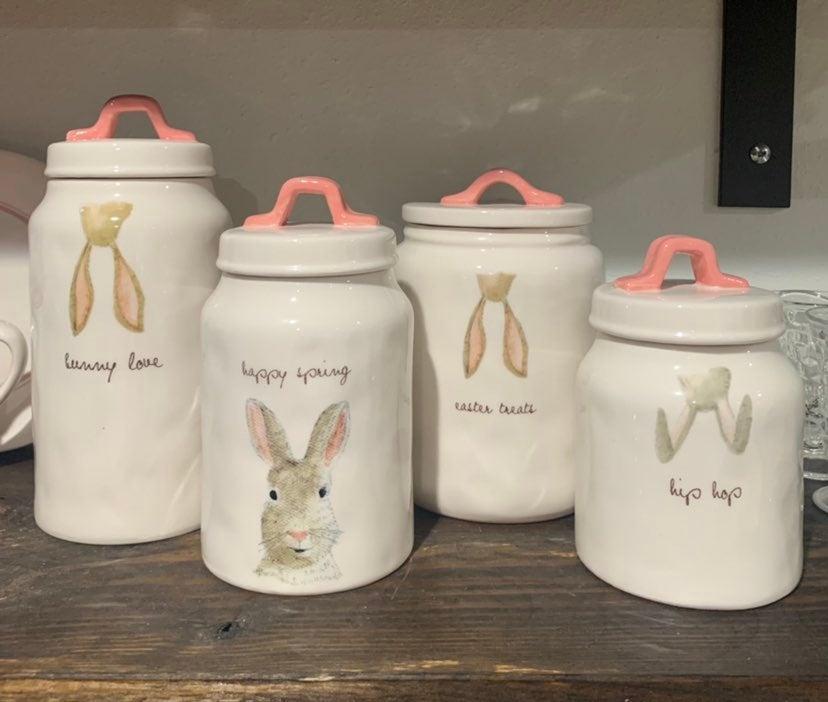 Rae Dunn bunny canister set