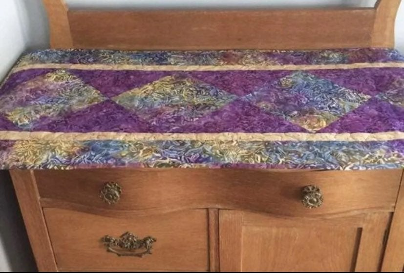 New Quilted Batik Fabric Table Runner