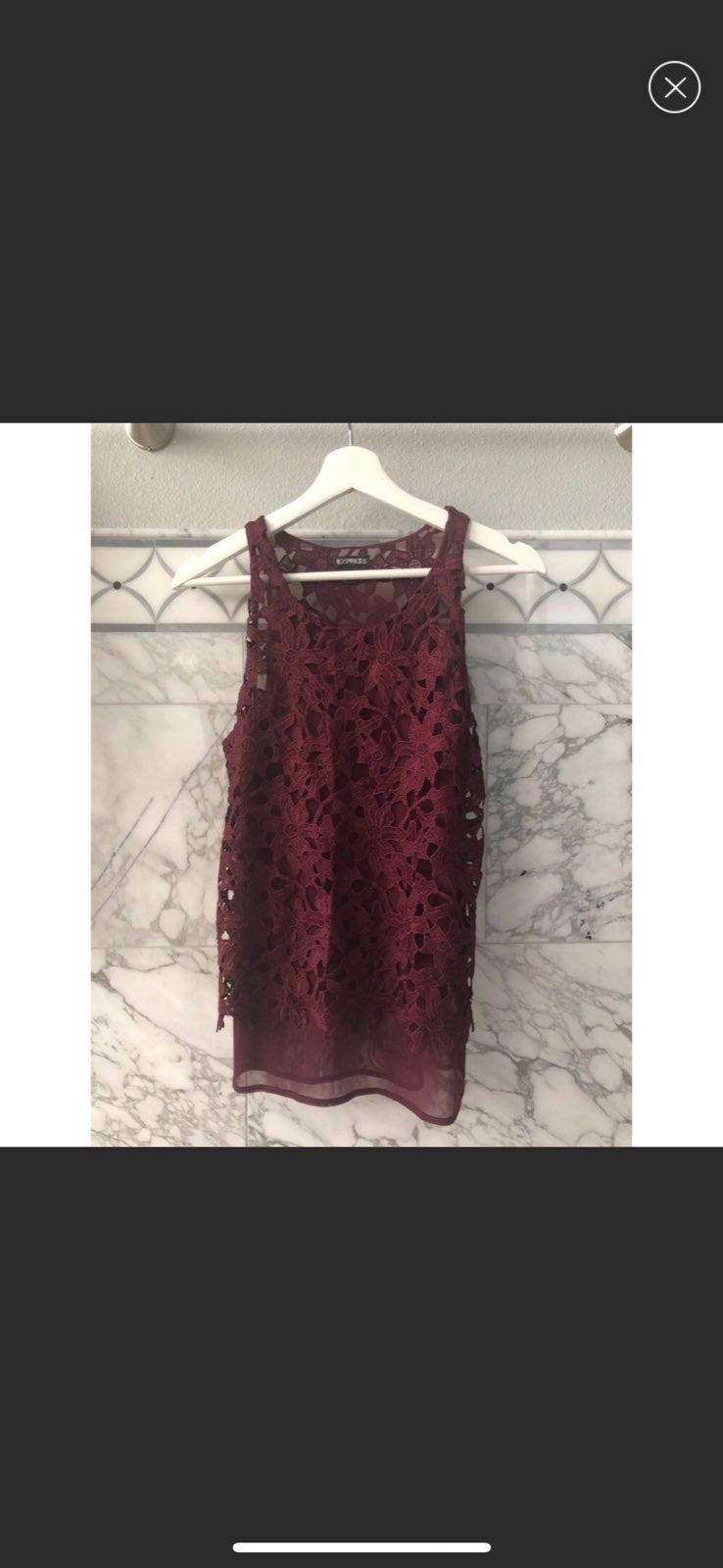 Express Red Lace Tank Top Small
