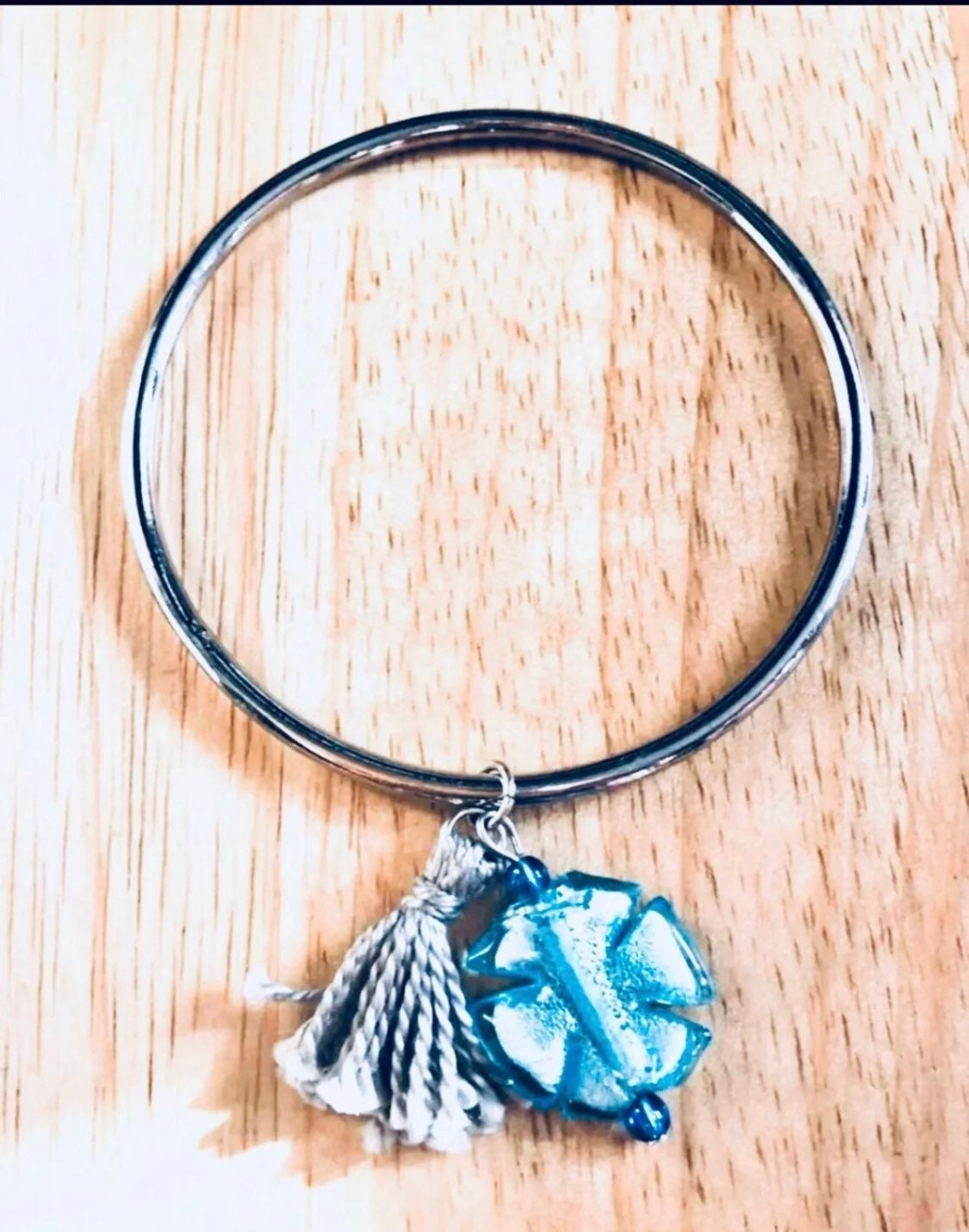 Charm bracelet blue cross + tassel