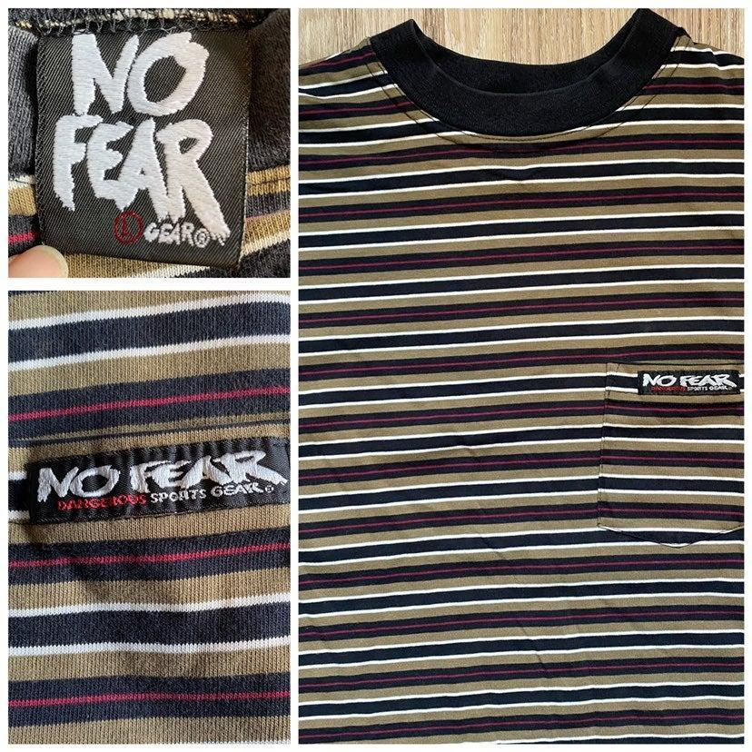 Vtg No Fear Stripe Pocket 90s T Shirt L