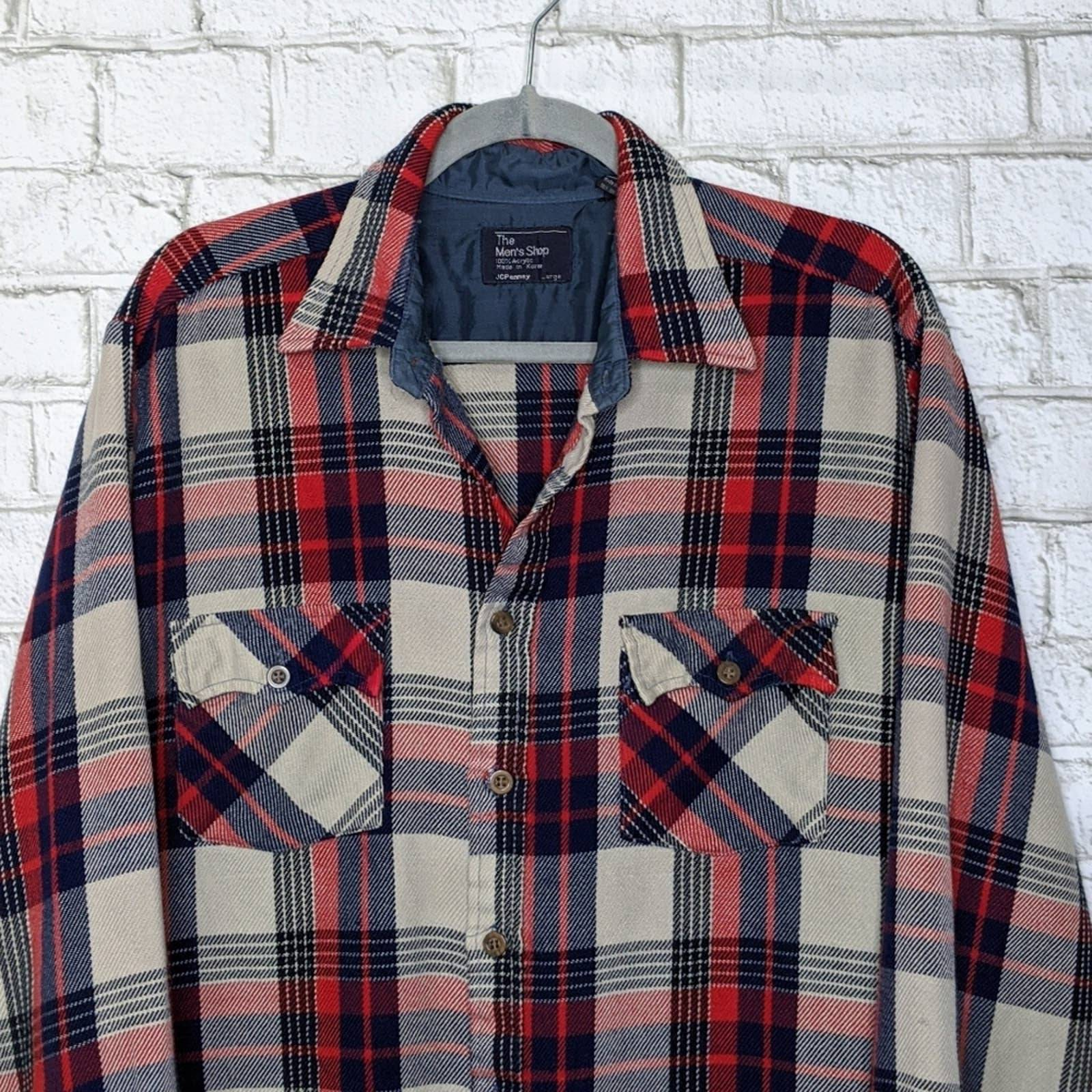 Vintage Flannel Acrylic Plaid JcPenny
