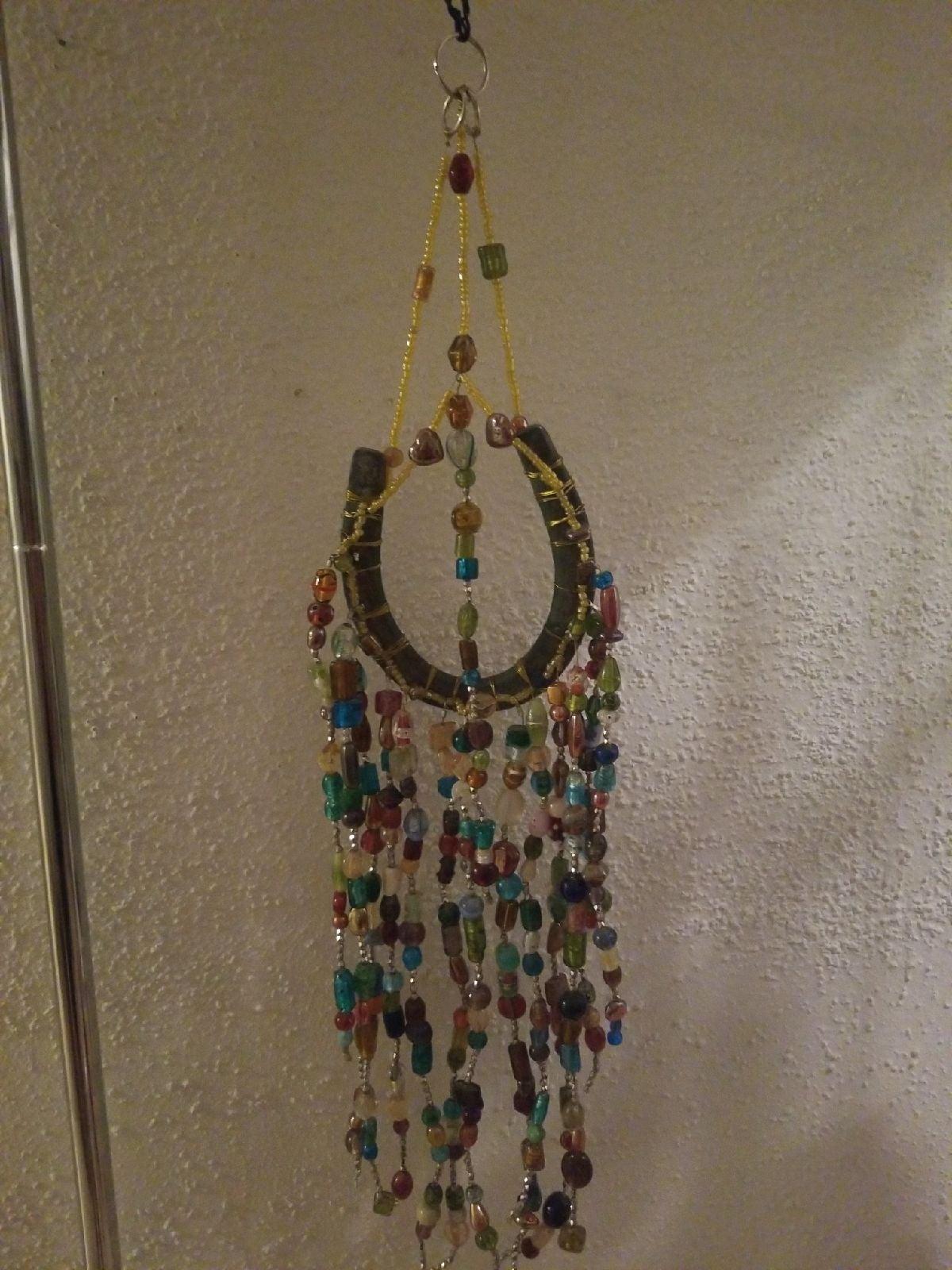Horseshoe with blown glass beads windchi
