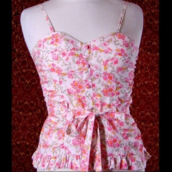YA pink floral fitted blouse Junior