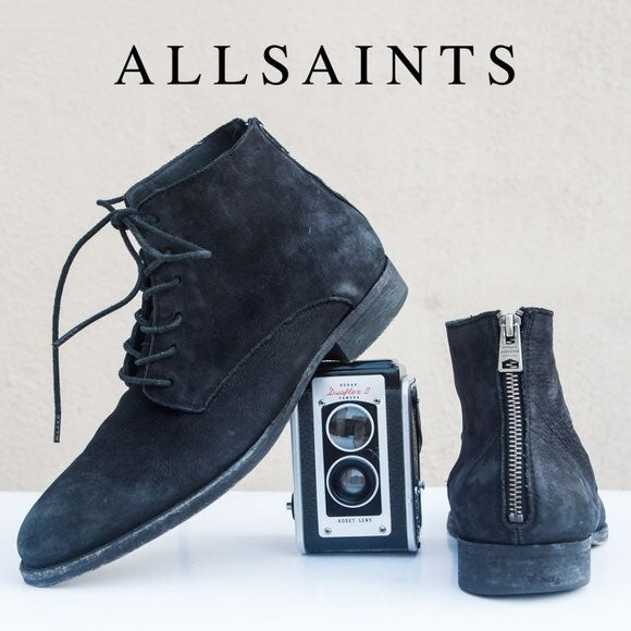 All Saints Mens Snare Zip Suede Boots in
