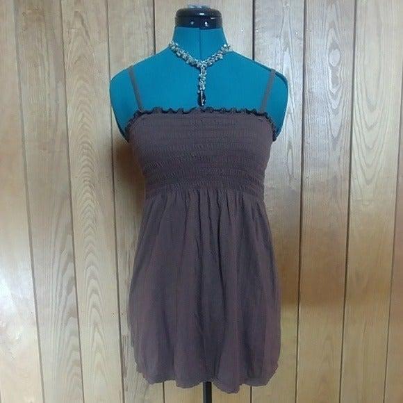 Aero Brown Shirred Cami Tunic Top Small