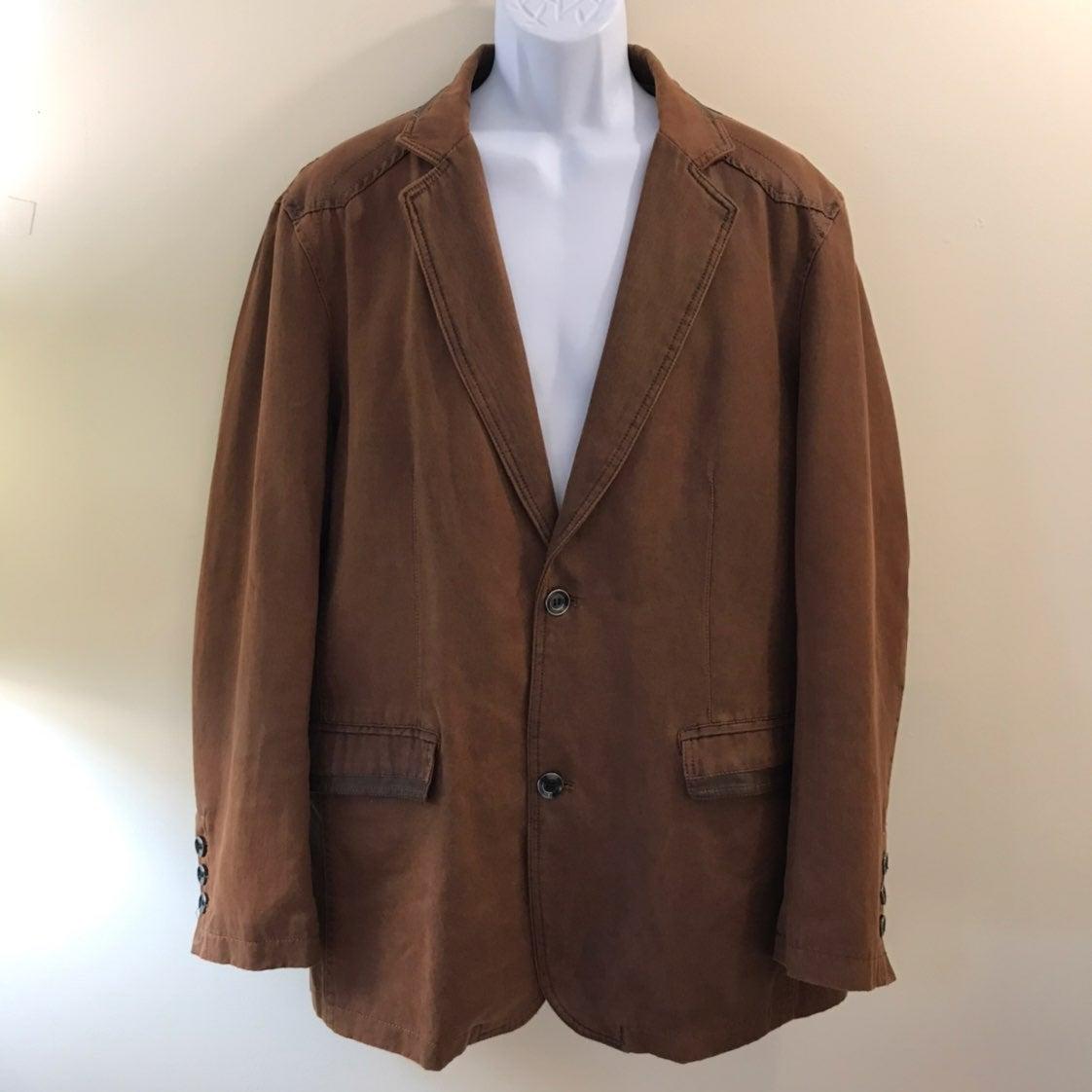 Inserch Brown Faux Leather Blazer
