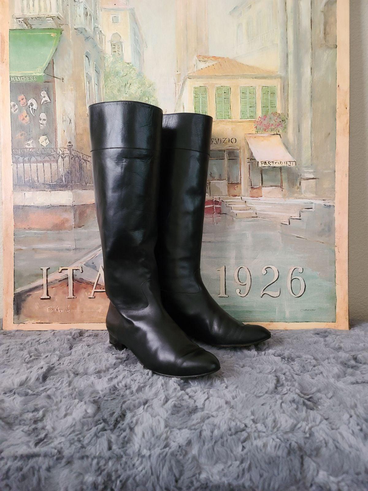 Escada Leather Knee High Boots