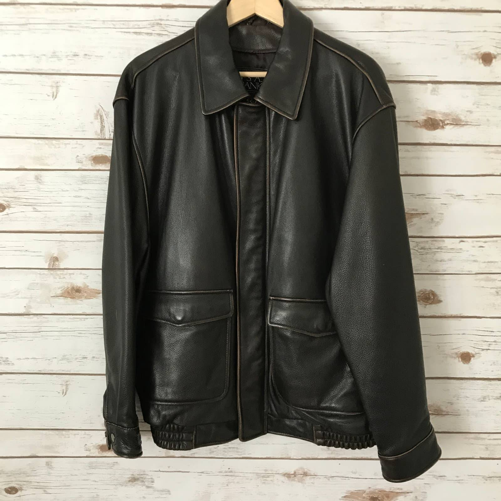 Jos A Bank Brown Leather Bomber Jacket
