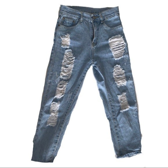 Distressed relaxed mid waist jeans