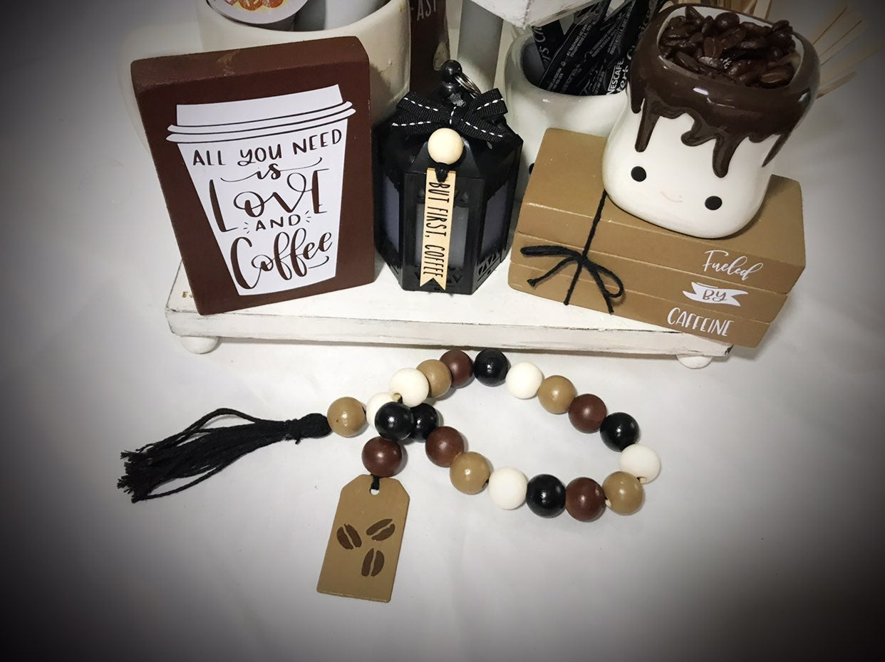 Coffee tiered tray set bookstack garland