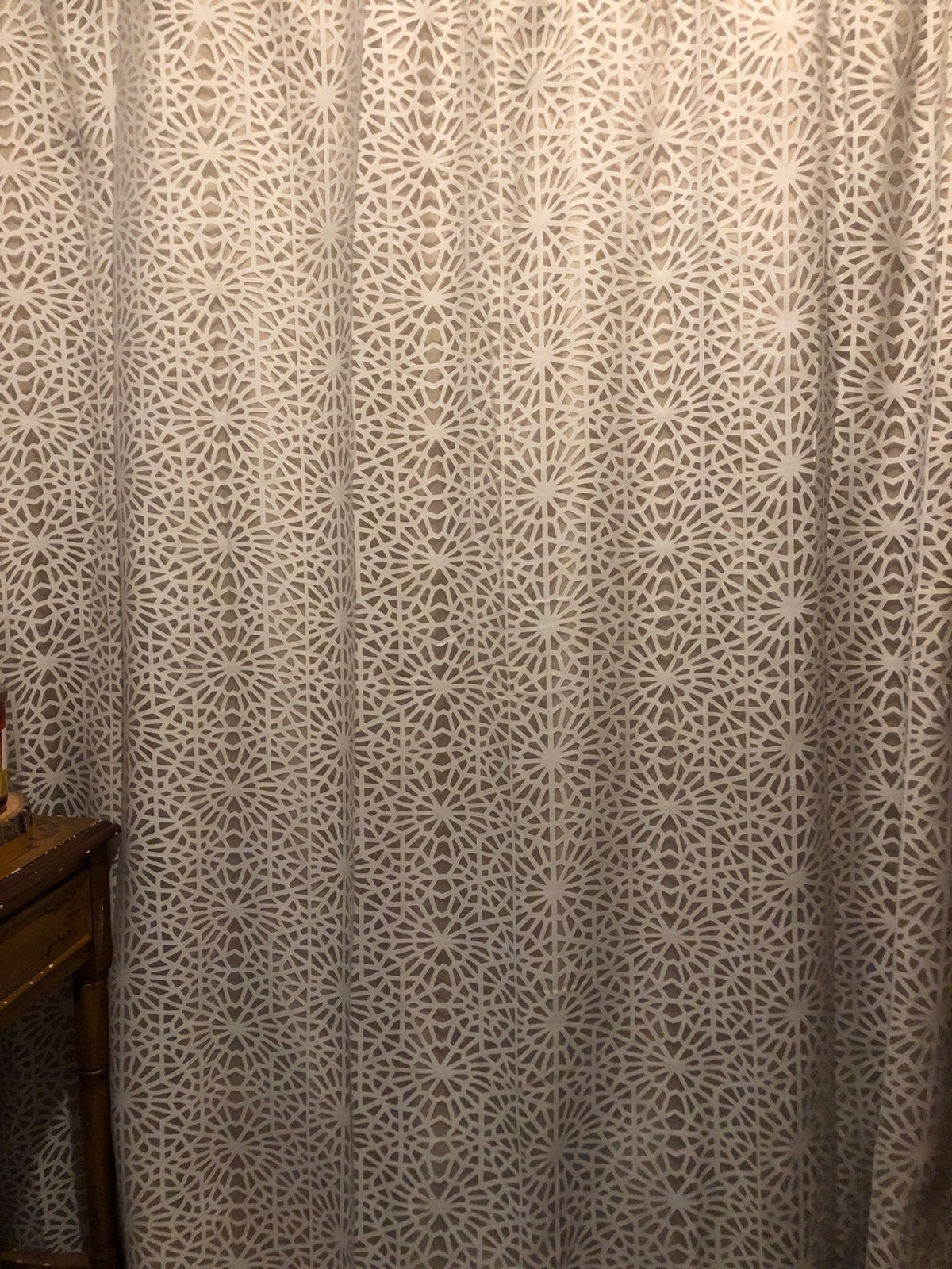 Threshold shower curtain and rings