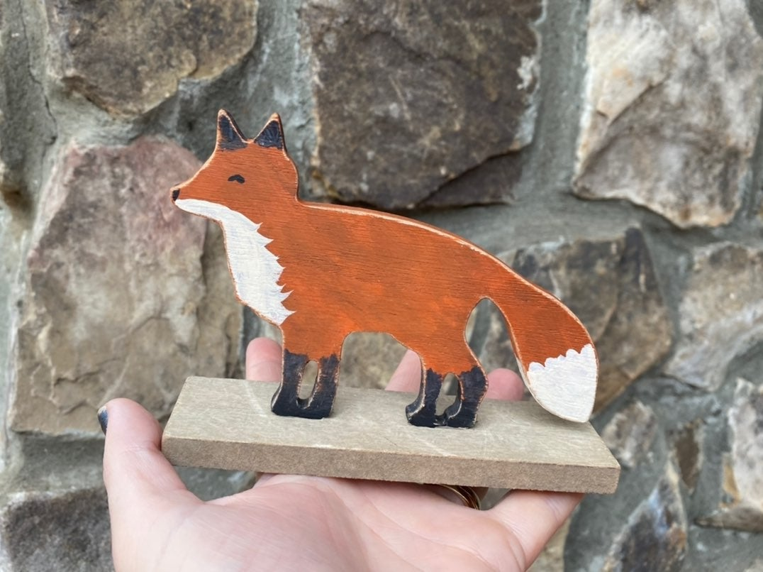 Wooden Fox Handpainted Decor