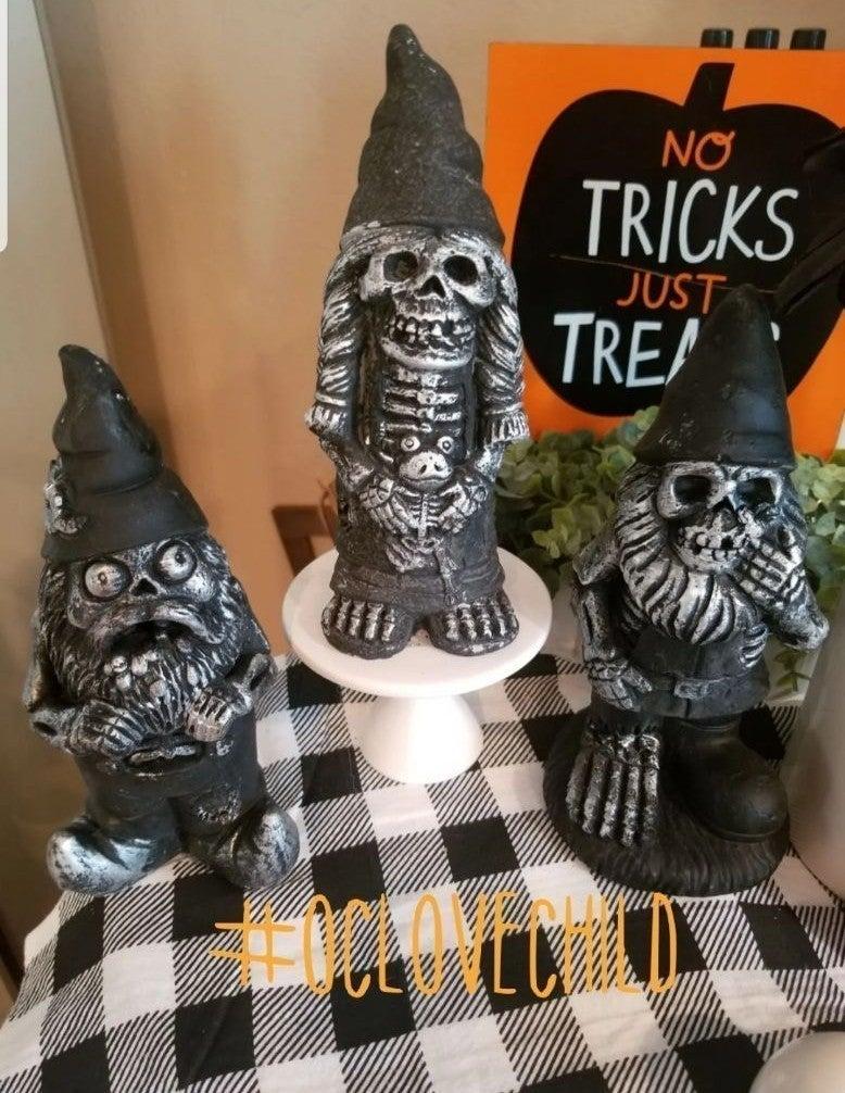 3 Farmhouse Spooky Zombie Gnomes