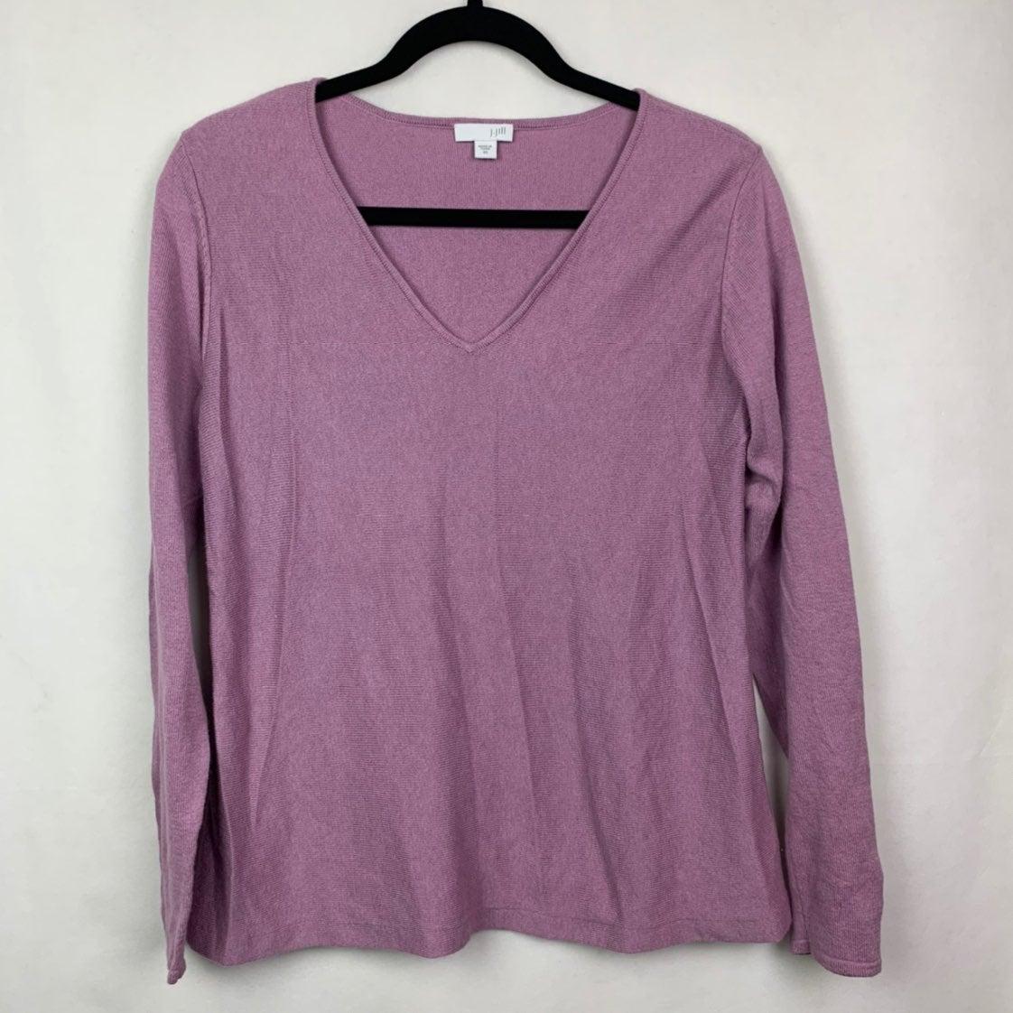 J. Jill V-Neck Wool Sweater Purple XS