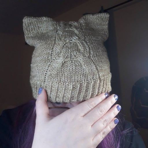 Cabled cat ear hat, heather an, handknit