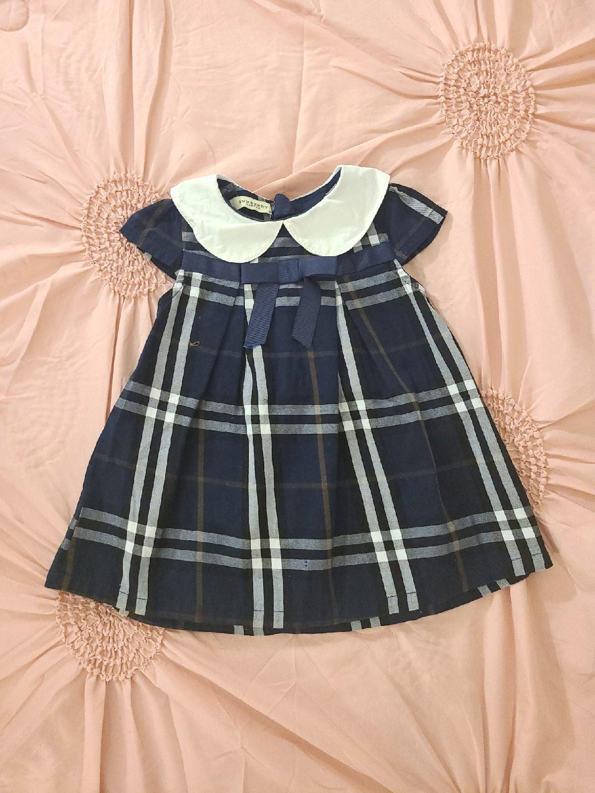 Burberry Blue Plaid Baby Girls Dress