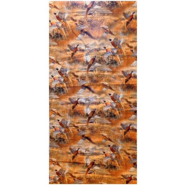 Crested Ringneck Scenic Orange Fabric