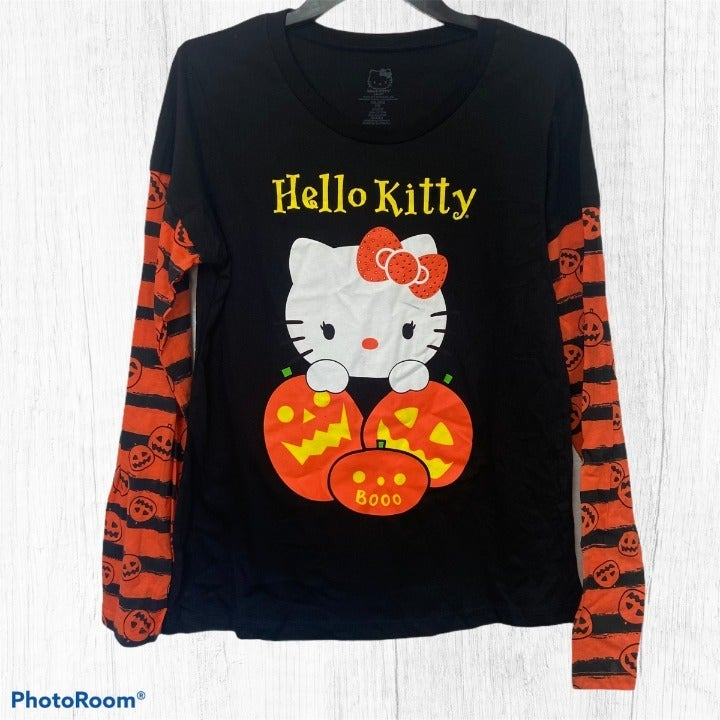 Retro Halloween Pumpkin Hello Kitty Long Sleeve Graphic T-Shirt