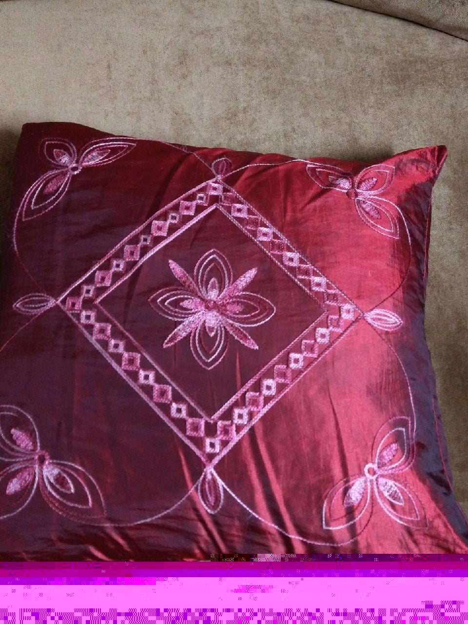 """18""""x18"""" decorative pillow and case maroo"""
