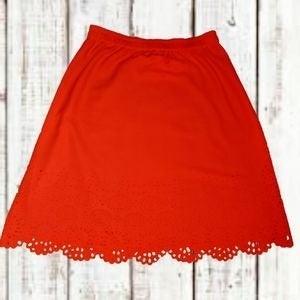 Liz Claiborne Orange LaserCut Midi Skirt