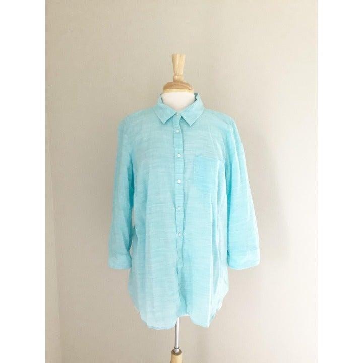 Jcp Aqua Blue Button Down Womens Dress Shirt Plus Size 2XL