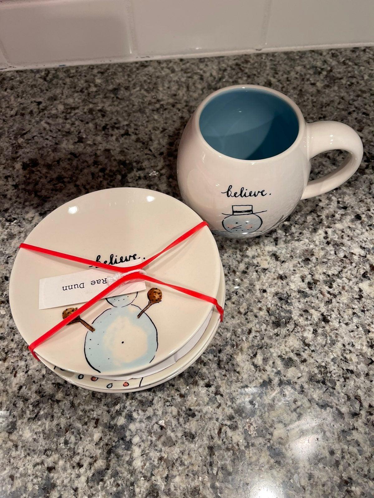 Rae Dunn Snowman Mug and Plates