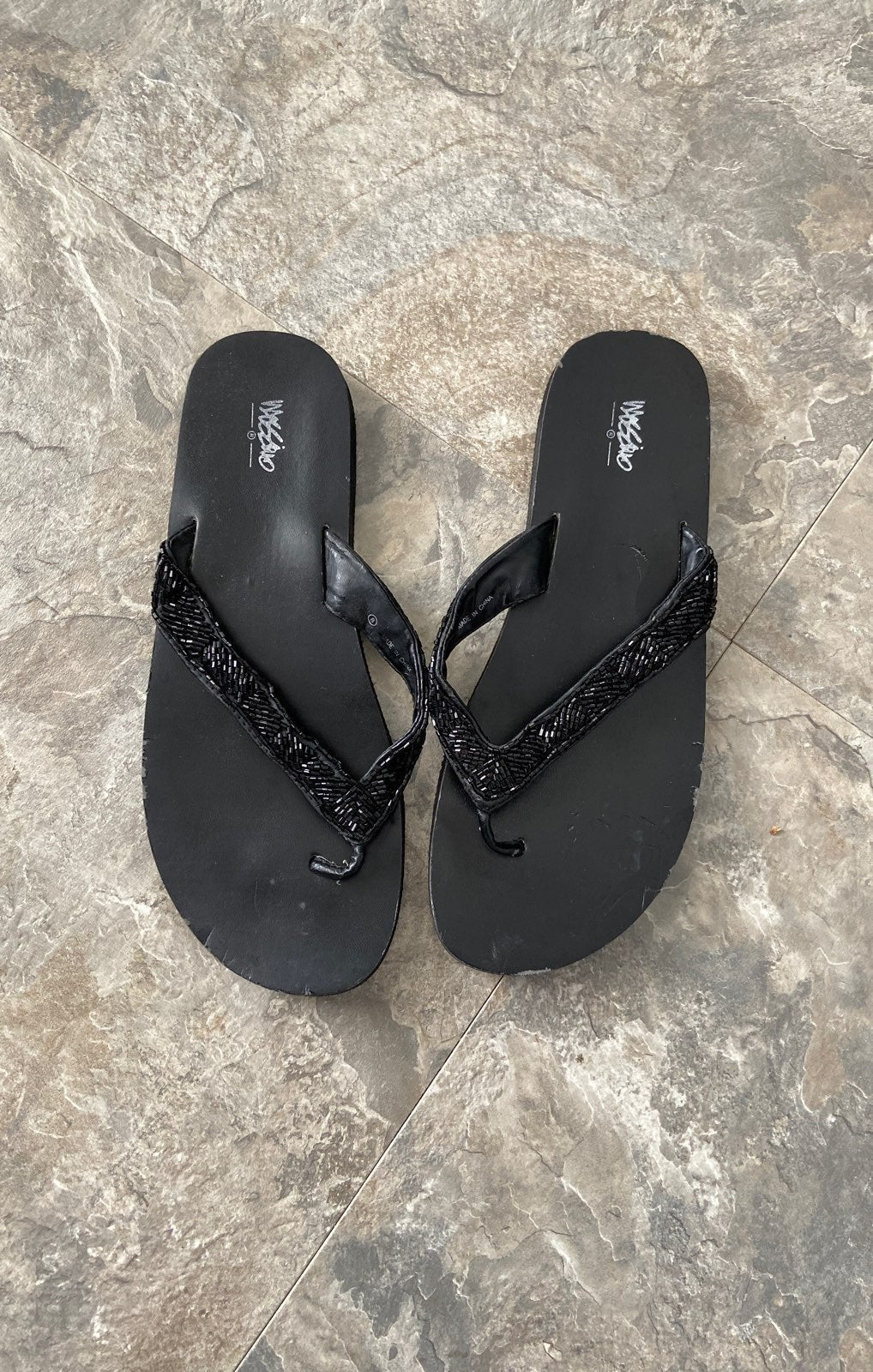 Beaded flip flops size 8