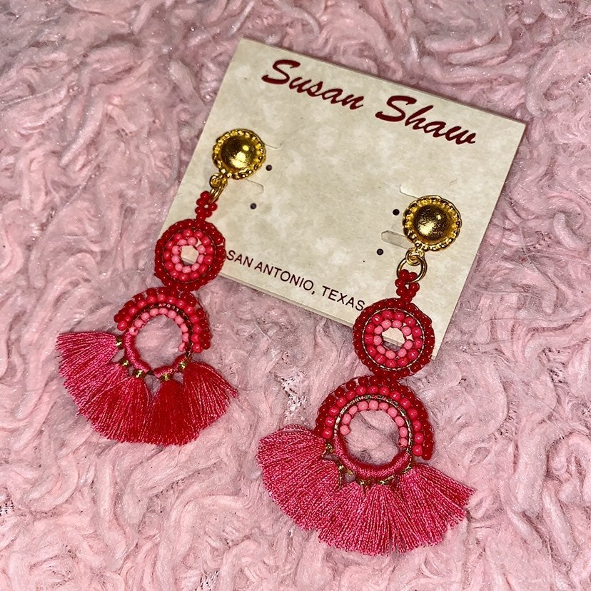 NWT Susan Shaw Hot Pink Earrings!