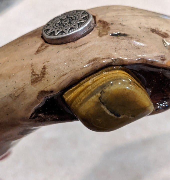 Walking Stick with Tigers Eye Crystal Skull and Epoxy