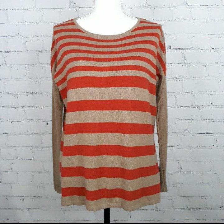 DES. HISTORY Tan Stripe Cashmere Sweater