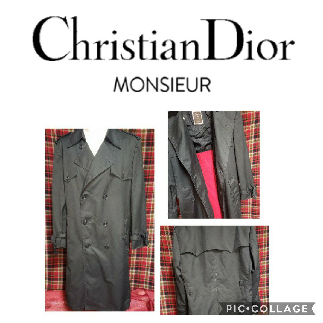 Dior vintage blk w/red lining trench coa