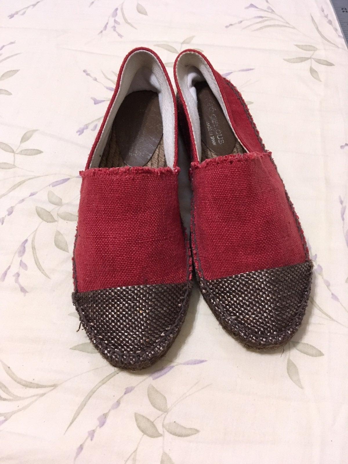 Dark Red Woven Toe Espadrille Flats