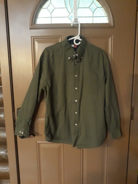 TOMMY HILFIGER SHIRT  Large, Army green