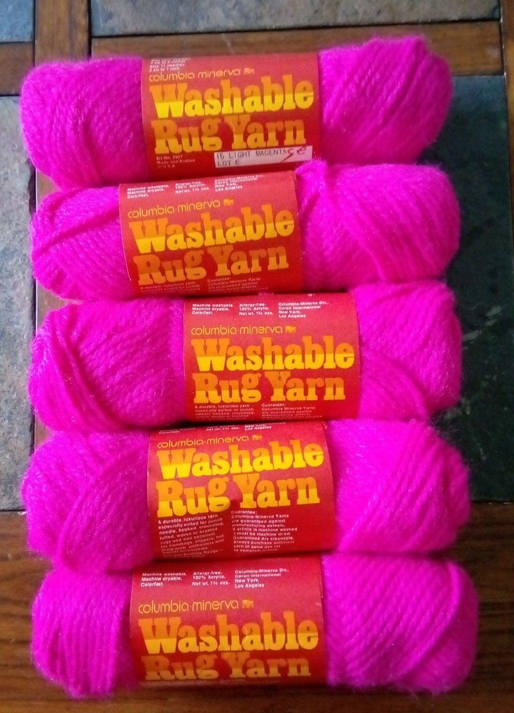 Lot of 6 Magenta Pink Rug Yarn Columbia