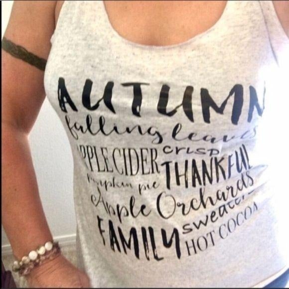 Autumn Fall Traditions Racerback Top NEW