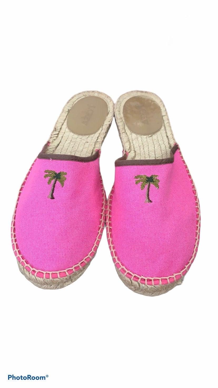 J Crew Pink Palm Tree Espadrille Mules