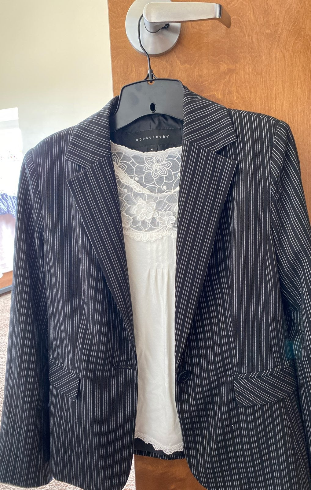 Black Large Blazer Striped Pink